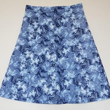 Saia Evasê 8 Panos Floral Azul Tamanho 46