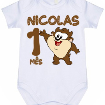 Body Bebê Infantil Personalizado 1 mês Taz Mania