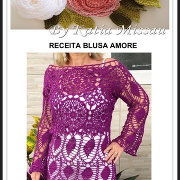 Receita Blusa Amore PDF - enviada para seu e-mail