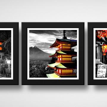 Kit 3 Quadros Japão Preto Branco Vermelho Decoração Oriental