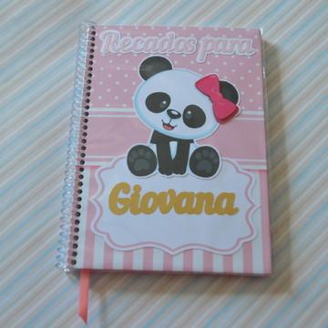 Caderninho personalizado recados - Urso panda - 48F