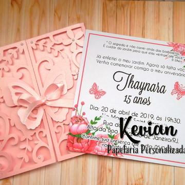 Convite Rendado Borboleta - Envelope Perolado