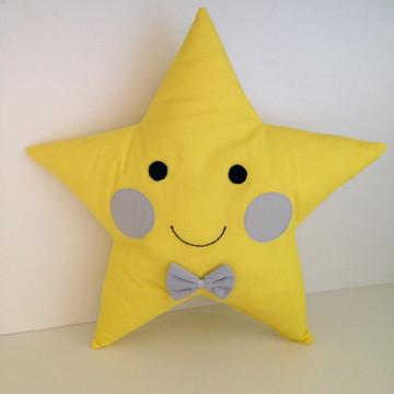 Almofada Estrela Amarela e Cinza