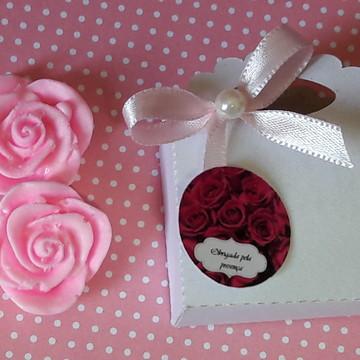 flor sabonete na caixinha