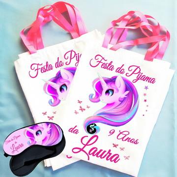 Kit Festa do Pijama Bolsinha + Máscara Unicórnio