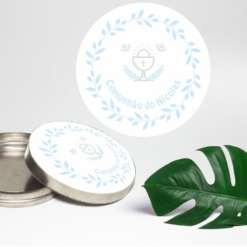 Adesivo Para Latinha Mint To Be Primeira Comunhão