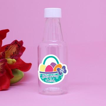 Garrafinha de plástico com adesivo com texto - páscoa