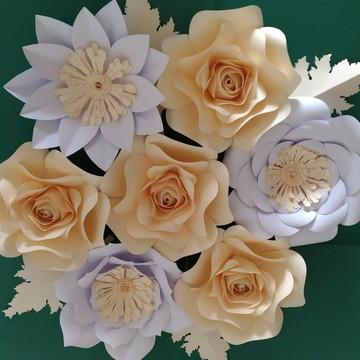 kit 7 Flores Gigantes De Papel 30cm 20cm 15 cm _ brindes