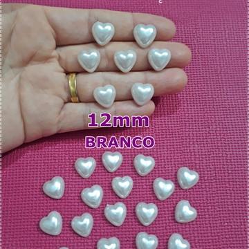 Meia Pérola Coração 12mm Branco