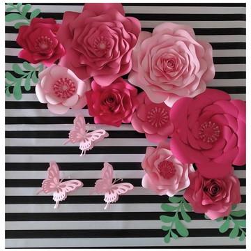12 Flores de Papel 20cm e 24cm +folhas +brindes