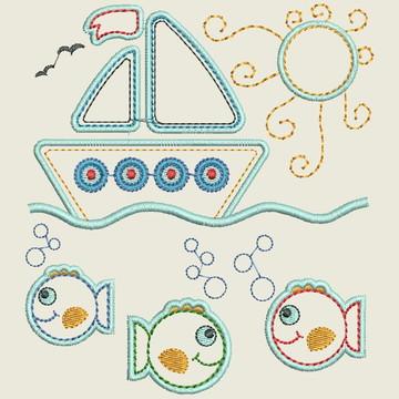 Matriz-Barco e Peixes Aplique