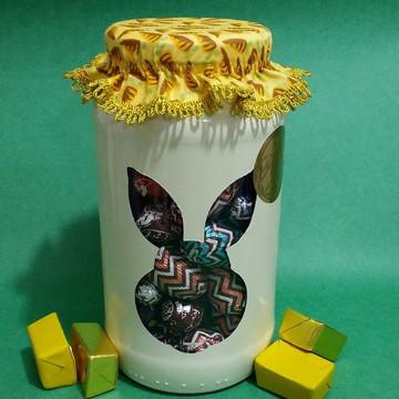 Vidro de Páscoa para doces cara de coelho
