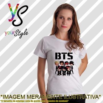 Baby look Feminina Integrantes Desenho Banda BTS KPop