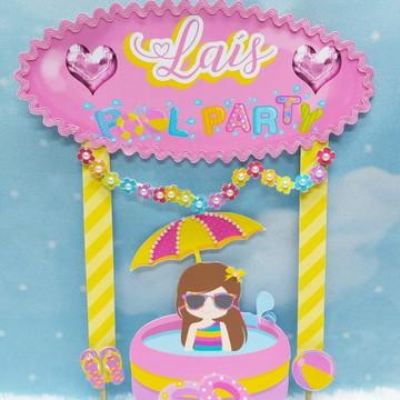 Topo de bolo Pool party girl