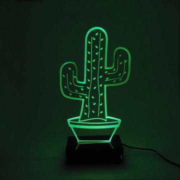 Abajur Cacto Luminária Em Acrílico Com Led Verde