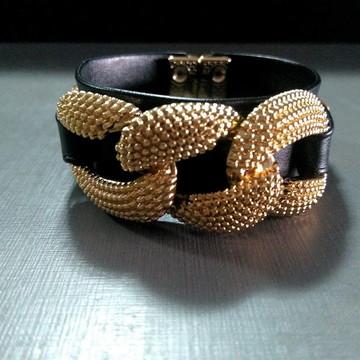 Bracelete Black Elos Dourados