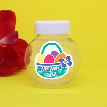 Baleiro de plástico com adesivo com texto – páscoa
