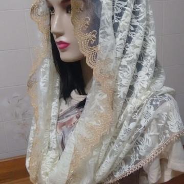 Véu para Missa com FRETE GRÁTIS pérola flora modelo Infinity
