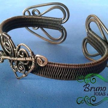 Pulseira de cobre wire wrap Love exclusivo regulável