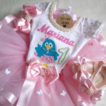 Fantasia Infantil Tutu Galinha Pintadinha Candy Colors 1ano