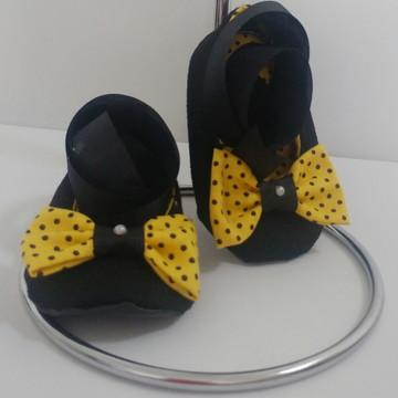 Sapatinho Abehinha Poá Amarelo + Tiara ou faixinha