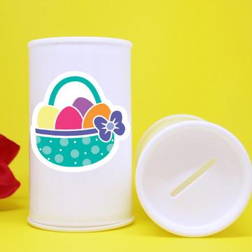 Cofrinho de plástico com adesivo - páscoa