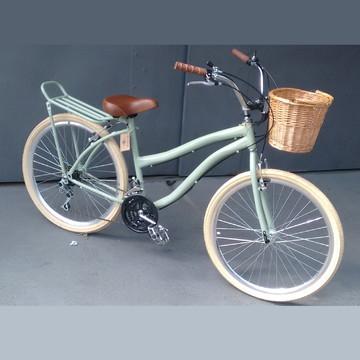 Bicicleta Vintage Retro Aro 26 Cesta Vime