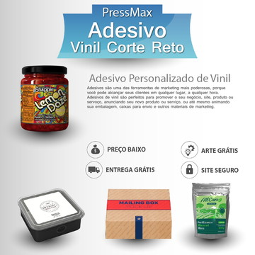 1000 Adesivo Rótulo Vinil Corte Reto 7x8 cm Personalizado