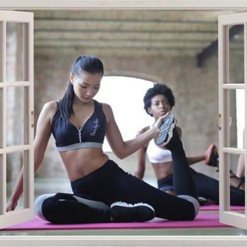 Adesivo Parede Ioga Saúde Pilates Beleza Academia Janela
