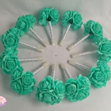 Mini Buquê para madrinhas - Verde Tiffany e Branco