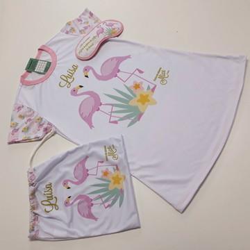 Kit Camisola Flamingos personalizada, porta pijama e máscara