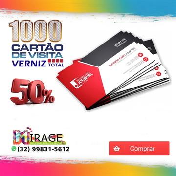 Cartão De Visita Verniz total frente colorido 1000 unidades