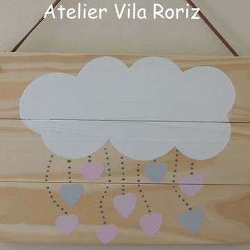 Quadro Placa Madeira Pinus Nuvem Chuva de amor!!!