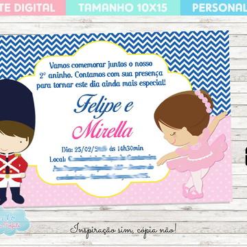 Arte Digital Convite - Tema Soldadinho de Chumbo e Bailarina
