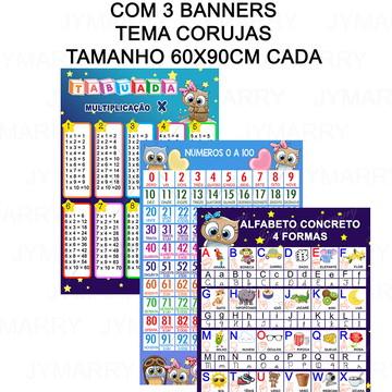 KIT 01 - COM 3 BANNERS - CORUJAS - 60X90CM