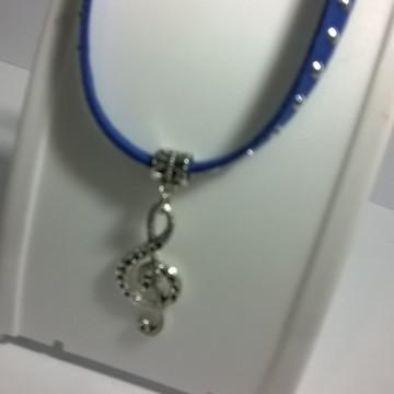 Gargantilha nota musical - Azul