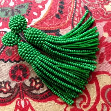 Brinco Tassel de Miçangas - Verde
