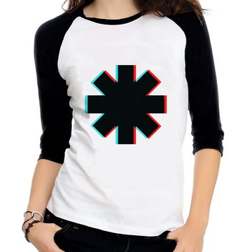 Baby Look Raglan Red Hot Chili Peppers Glitch Tres Quartos