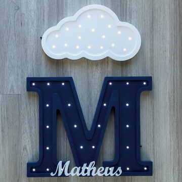 Letra luminosa de MDF + nuvem com nome