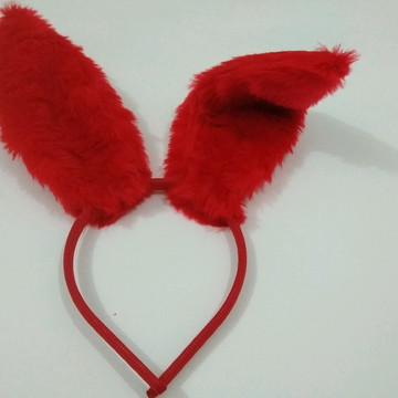 Tiara Orelhas Coelho Vermelha Páscoa