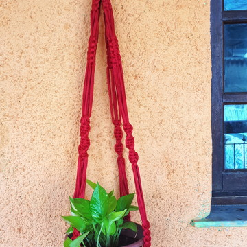 Hanger Macramê - Fio de Malha Ecológica - Vermelho
