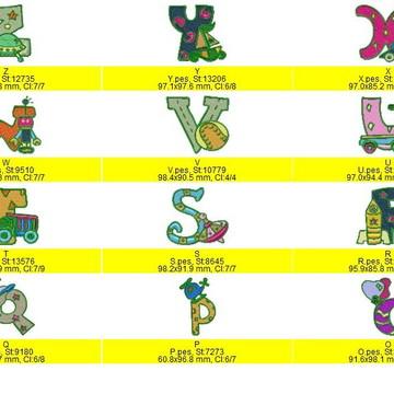 Matriz de Bordado Alfabeto Brinquedos Meninos