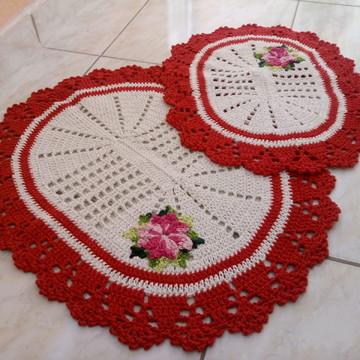 Jogo de banheiro de crochê 2 peças vermelho/cru