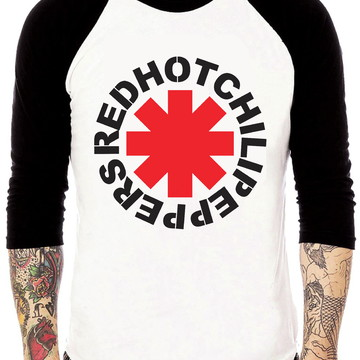 Camisa Raglan Red Hot Chili Peppers Rock Tres Quartos