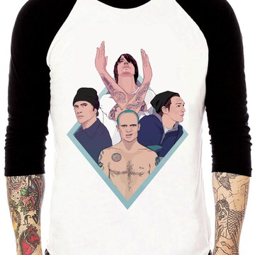 Camisa Raglan Red Hot Chili Peppers Membros Tres Quartos
