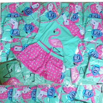 Lote 10 Baby Short Doll Alça 296 Flamingo ADULTO