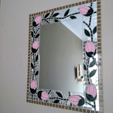 Espelho mosaico retangular