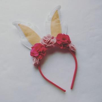 Tiara Orelhas de Coelho – Acessório de Páscoa Pink e Rosa