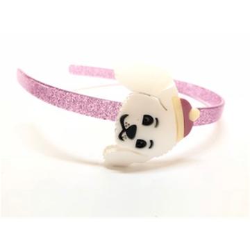 Tiara fina de acrílico cachorrinho rosa!