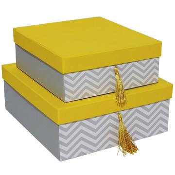 Conj.caixas organ.c/pingente-amarela e cinza-Cod-3188